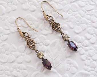 Amethyst Crystal Earrings, Amethyst Earrings, Jonquil Crystal Earrings, Purple Earrings, Dangle Earrings, Swarovski Crystal Earrings