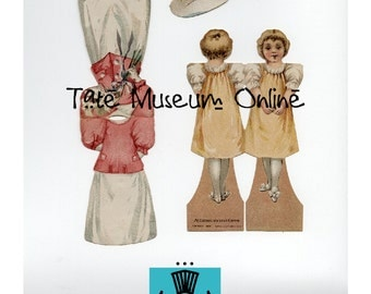 Paper Doll _ Antique McLaughlin Advertising Paper Dolls & Outfits - Set of 2 Digital Download Collage Sheets Paper Art Dolls + BONUS Booklet
