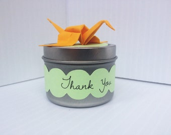 Spice Favor Tin with Origami Crane Topper
