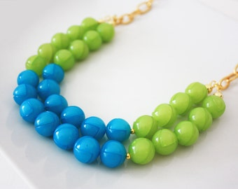 Lime Green and Aqua Layered Statement Necklace