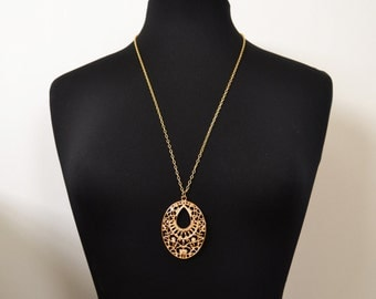 28 Inch Gold Statement Necklace, Long Gold Pendant Necklace, Gold Filigree Necklace  14kt Gold Filled, Bold, Trendy, Vogue