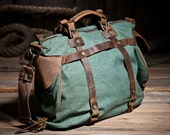 Roomy Jade Green Canvas+Leather Duffle Travel Bag / Teal Messenger Bag, Men's Crossbody Tote Bag