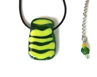 fused glass necklace, yellow glass pendant necklace,green yellow fused necklace, transparent green and yellow fused necklace, gift for her