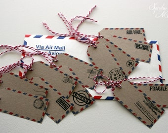 Label / tag AIR MAIL - x12 - theme TRAVEL