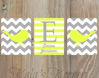 Yellow and Gray Nursery Art - Bird Nursery Decor - Custom Name Print Set - Gray chevron