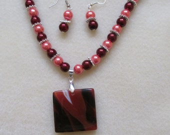 Red Agate Necklace and Earrings Set