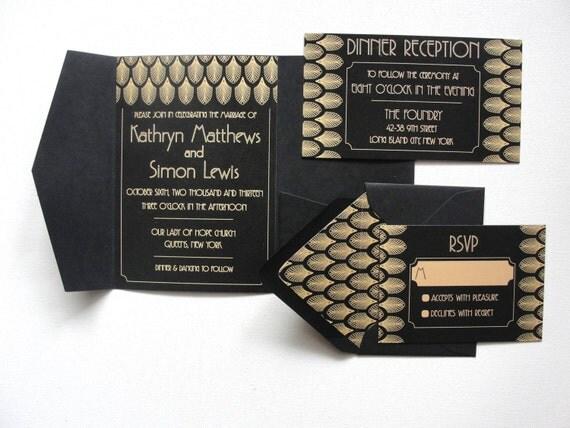 Pocketfold Wedding Invitations Wholesale: Pocket Fold Wedding Invitations Set / Gatsby Black / By
