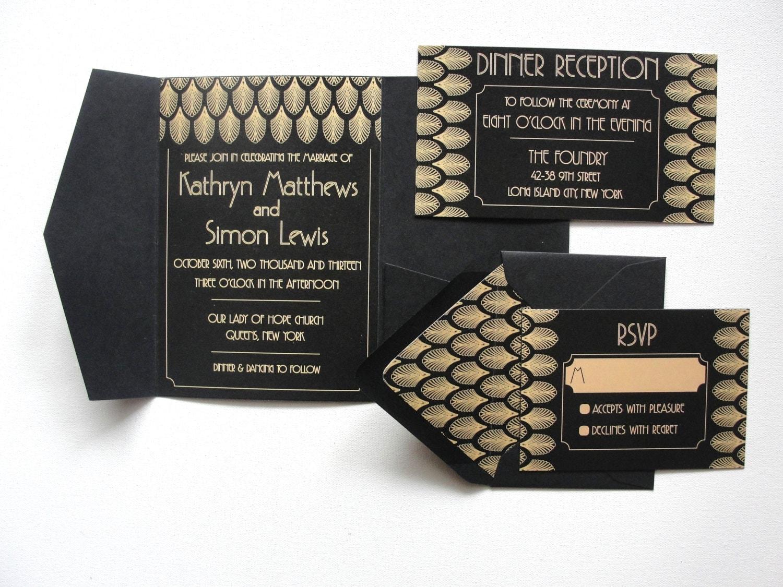 Pocketfold Wedding Invitations Wholesale: Pocket Fold Wedding Invitations Set / Gatsby Black