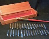 33 Vintage Dip Pen High Society Set With Box and Vintage Holder  ESTERBROOK SPENCERIAN GILLOTT