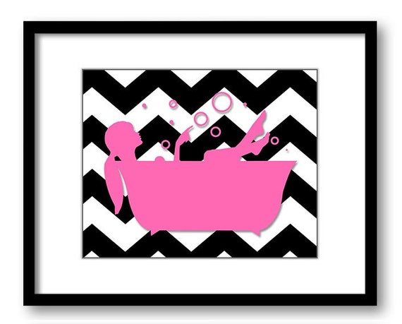 Bathroom Decor Bathroom Print Hot Pink And Black Girl With Hair Up In A Batht