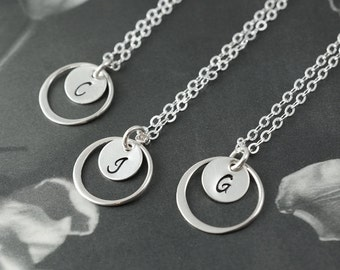 Bridesmaids gift, set of 4 circle necklaces with personalized pendants, bridesmaid jewelry, sterling silver