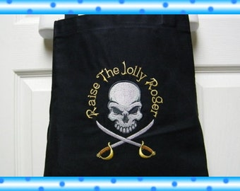 Custom Embroidered Pirates Baseball Fan Dad Butcher Baking Grilling Cooking Mans Apron - Raise the Jolly Roger