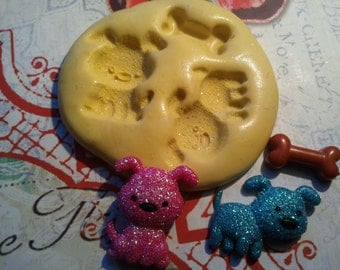 Puppy Dogs with a Bone Miniature Flexible Silicone Mold