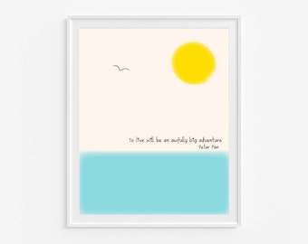 Peter Pan quote-Printable art- INSTANT DOWNLOAD- Nautical art- Yellow and blue nursery art- kids room decor- 8x10 inches- (A-004)