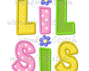 Lil Sis little sister applique machine embroidery design