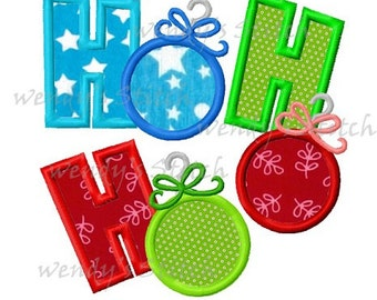 Christmas ornament ho ho ho applique machine embroidery design