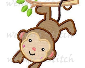 Monkey applique machine embroidery design digital pattern