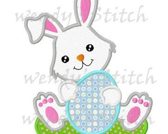 Easter bunny with egg applique machine embroidery design digital