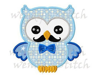 Owl with bowtie and mustache machine embroidery design instant download
