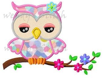 Pretty owl applique machine embroidery design digital pattern