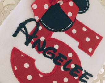 Birthday Number Choose Mickey or Minnie Personalized Shirt
