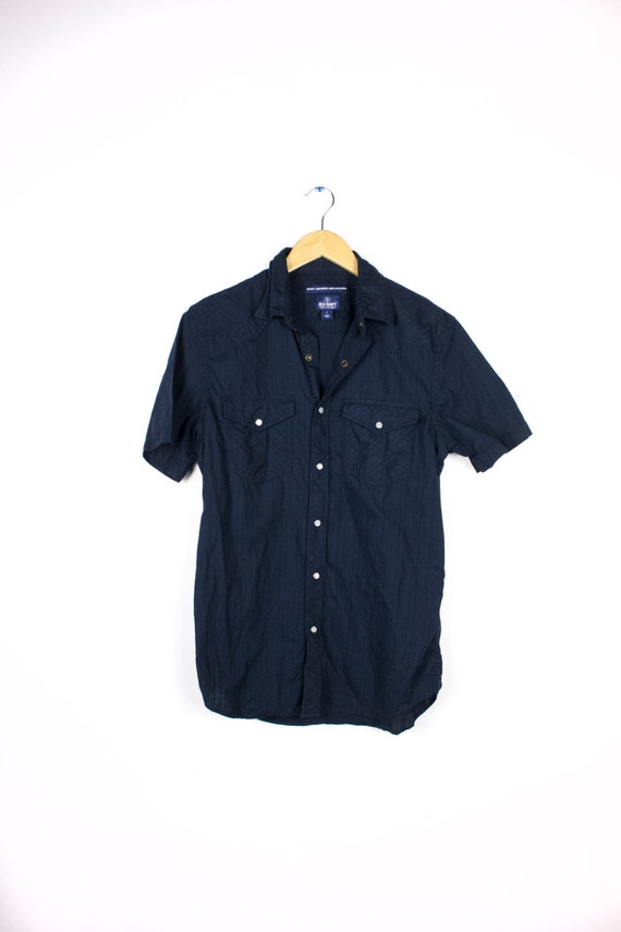 Ladies Cotton Navy Blue Short Sleeve Button Up Country Western