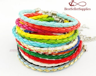 10 PCS, Braid Leather Cord for Bracelets, Anklet etc., Imitation Leather Cord, Plaited Leather Rope, String, Straps, Jewelry Making Supplies