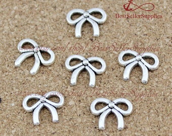 100 PCS, Oxidized Silver Tone Bowknot Charm, Bow Tie Pendant, Bow, Butterfly Tie, Craft Supplies, Jewelry Making Findings, 10*8MM
