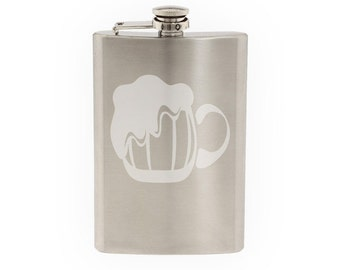 Beer Mug - Etched 8 Oz Stainless Steel Flask