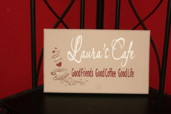 Personalized Handpainted Coffee Kitchen Sign By Applehillcreations