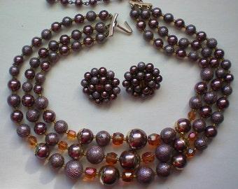 Triple Strand Bead Necklace & Earrings - 3112