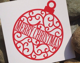Christmas Cards, Holiday Card Set, Personalized Christmas Cards - Scroll Ornament
