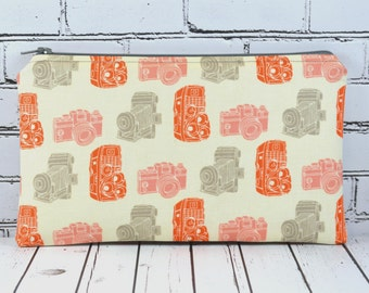 Vintage Camera Pencil Case, Camera Zipper Pouch, Camera Make Up Bag