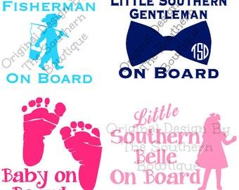Baby on Board Decal Sticker | Little Southern Belle | Little Gentleman | Little Fisherman | Little Cowboy | Texan| Southern Baby