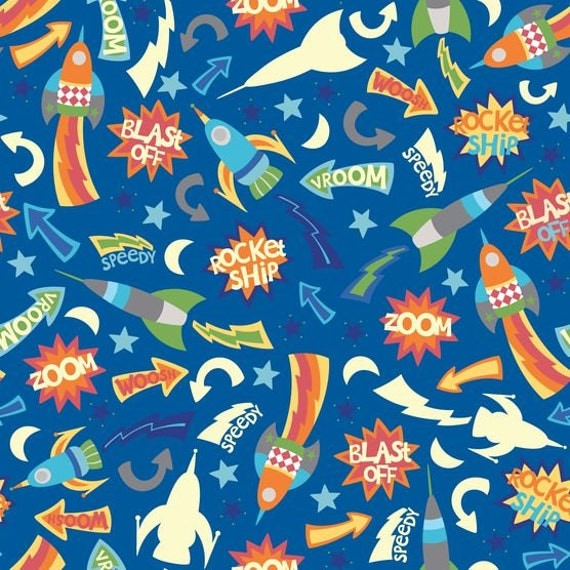 Rockets space ships outer space fabric by the yard by for Outer space fabric by the yard