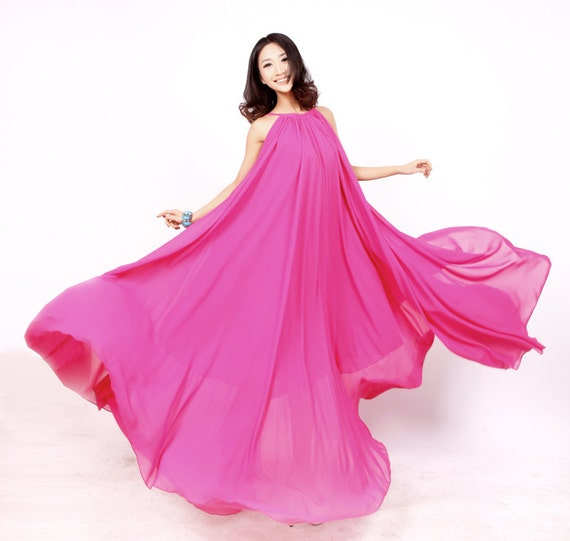 Rose Pink Long Evening Wedding Party Dress Lightweight by