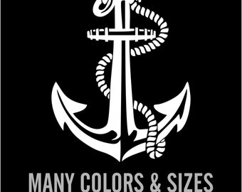 Anchor Sail Boat Decal Sticker Car Decal Laptop Decal - Choice of Colors & Sizes