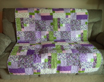 Wall Quilt or Lap Quilt, Purples and Greens