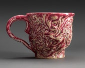 Ceramic hand carved large mug in mulberry color