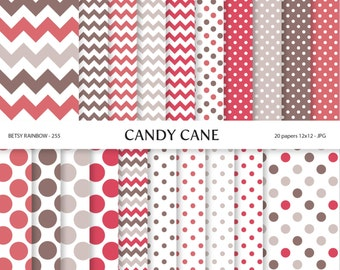 Candy cane Digital Paper, Digital Paper Pack of 20 papers, Red Scrapbook paper supplies  - BR 255