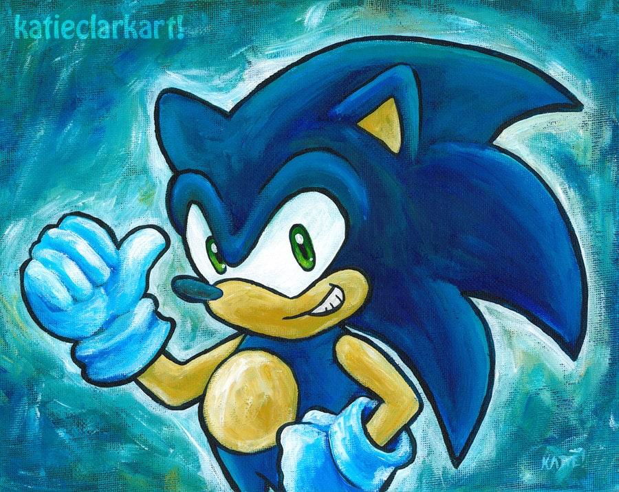 Pubg Fanart Acrylics Paper: Sonic The Hedgehog Art Print Of Original Painting Sonic Art