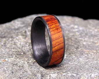 Cocobolo Rosewood Wood Inlay Carbon Fiber Wedding Band or Ring
