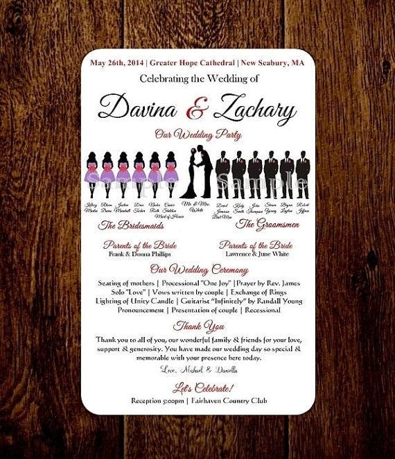 diy silhouette program wedding program by pixelromance4ever. Black Bedroom Furniture Sets. Home Design Ideas