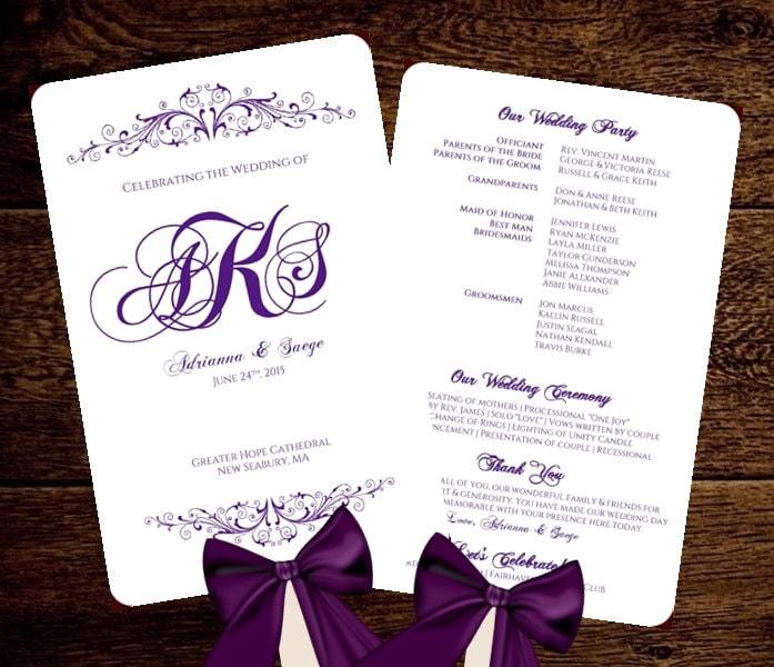 Wedding fan program template purple monogram by pixelromance4ever for Wedding fan template