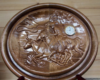 Cowboy Home Decor Wood Wall Clock 3d Wood Carving