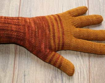 Merino Silk Gloves - amber - gold - rust - orange