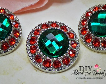CHRISTMAS Rhinestone Buttons Red & Green - Holiday Crystal Button Rhinestone Embellishments Flower centers bow centers 5 pcs 21mm 755040