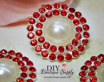 Pearl buttons with RED Rhinestone Crystal flatback Bridal Supplies flower centers hair bow centers invitations crystal bouquet 23mm 765065