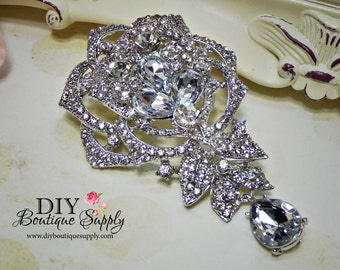 Large Wedding Brooch Rhinestone Brooch Pin - Dangle Brooch Bridal Accessories Crystal Brooch Bouquet - Bridal Brooch Sash Pin 95mm 688198