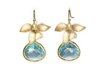 Aquamarine Orchid Earrings, Flower Earrings, Dangle Earrings, Wedding Jewelry, Bridesmaid Jewelry, Mother's Day